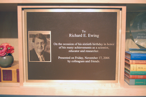 A photograph of the plaque presented to Dr. Ewing celebrating his 60th birthday.